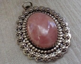 Rhodocrosite Crystal  Sterling Silver Pendant flower rim