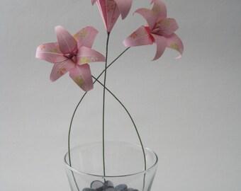 Origami Floral Arrangement - Pink Lily