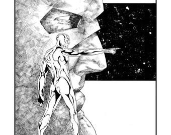 "12"" x 16"" Silver Surfer Galactus Art, Silver Surfer Poster, Silver Surfer Wall Art, Silver Surfer Drawing"