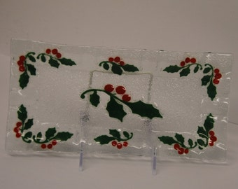 Art Glass tray with holly berries and leaves design