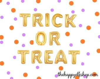"16"" ""TRICK or treat"" balloon/banner. Halloween balloons. Balloon Banner. Halloween photo shoot. Halloween party supply. trick or treat sign"