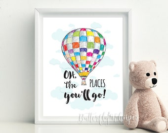 Oh the places you will go, Wall Art, Dr. Seuss Quote Pintable, Kids Wisdom, Kids room decor, kids quotes