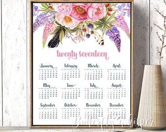 2017 Calendar printable, Floral 2017 calendar poster print, 8x10, 11x14, 16x20, 20x24, Pink flowers, Wall planner 2017, Printable calendar
