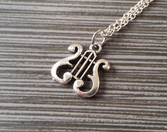 Silver Lyre Necklace - Charm Necklace - Personalized Necklace - Custom Gift - Initial Necklace - Musical Necklace - Band Necklace