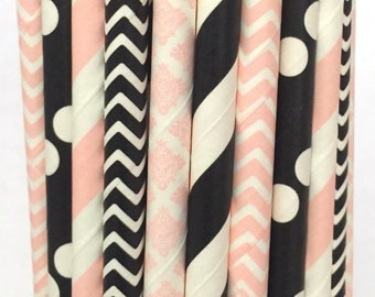 2.85 US Shipping -Mrs. Mouse inspired paper straws- Minnie Mouse straws - cake pop sticks - drinking straws