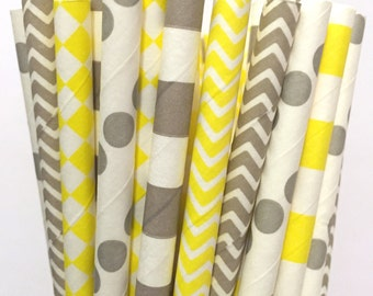 Yellow and Gray Paper Straws - Set of 25 -Chevron Stripe Polka Dot - Gray and Yellow Straws - Cake Pop Sticks - Drinking Straws