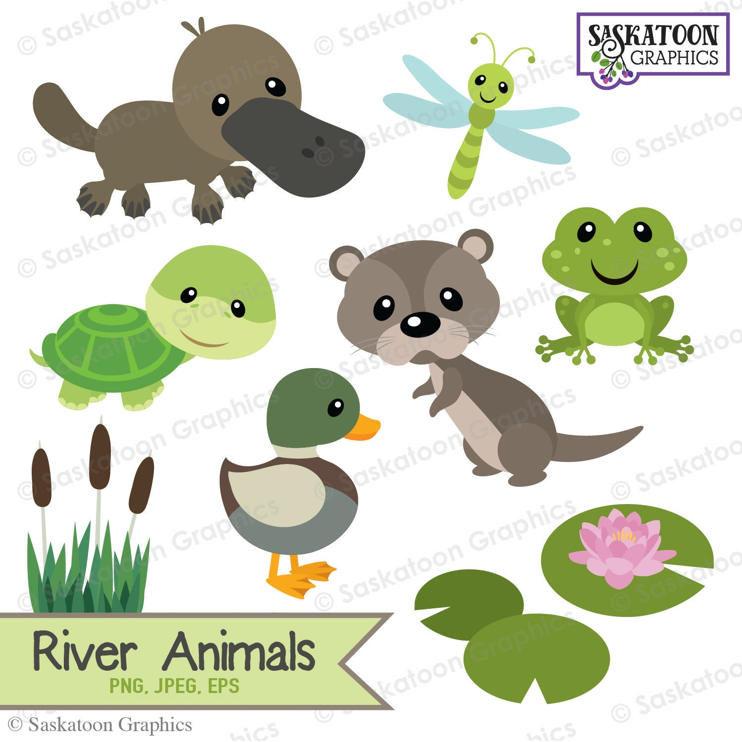 Cute River Woodland Animals Clipart - Instant Download ...