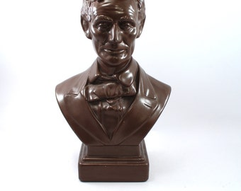 Large vintage Abraham Lincoln bust sculpture or statue, bronze look, president, political, Civil War, American, USA - nice detail!