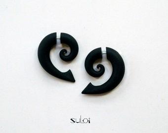 Fake gauge earrings black spirals with thorns fake gauges fake plugs