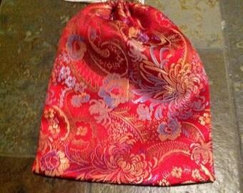 Red Floral Brocade Bag