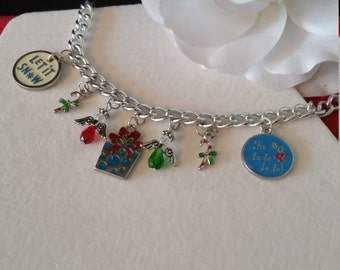 DISCOUNT Holiday Charm Bracelet, Let it Snow, Candy Canes, Gifts, Christmas Jewelry, Charm Bracelets, Holiday Bracelets, Silver Chain