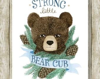 bear nursery print, bear cub, nursery art, bear print, bear, strong bear, art print, watercolor print, baby shower gift, baby gift