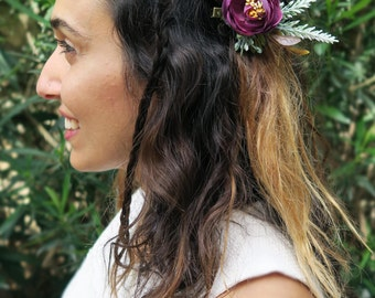 Flower hairclip, bridal headpiece, floral hair accessories, wedding hair accessories, Boho Maroon flower hair clip