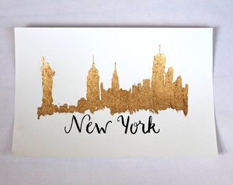 Gold Leaf New York Skyline (Handmade)