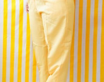 High waist handmade yellow trousers