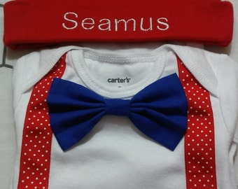 Bow tie/tie onesie/t-shirts  with matching diaper cover & Personalized cap option