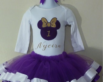 Glitter Minnie Mouse Ribbon Birthday Outfit