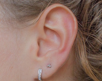 Sterling silver huggie earrings - dainty silver hoops - silver cz earrings - small hoop earrings - huggie hoop earrings - silver earrings