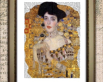 Klimt The Woman in Gold Dictionary Art Print Adele Bloch-Bauer Printable Download for Wall hanging, Tote Bags, t-shirts