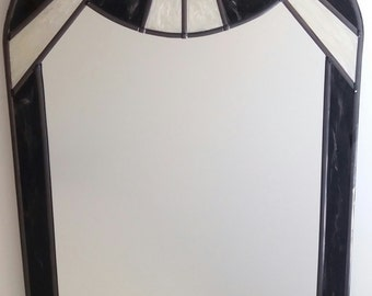 A bespoke 1920s Art Deco Sunburst: Arched and leaded 20x40cm Mirror in Black and Pearl. By Douglas Payne ~ Douglas Payne Designs ~