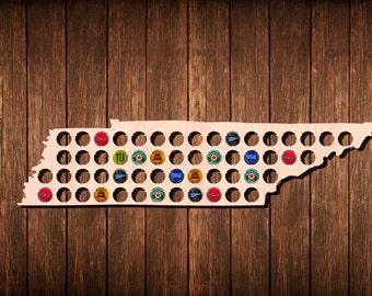 Tennessee Beer Cap Map Bottle Cap Art Beer Cap Holder Beer Cap State Map Beer State Map Beer Lovers Gift for Beer Aficionado Gift for Him