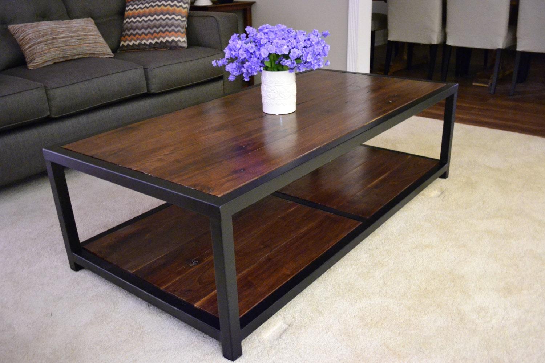 Rustic Industrial Walnut Coffee Table
