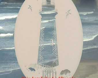 "Lighthouse Oval Static Cling Window Decal 8"" x 12"" - White w/Clear Design"