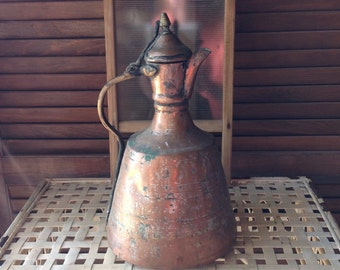 Copper Turkish Coffee Pot Antique Shabby Home Decor Decorative Accent Collectible