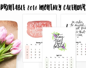 2016 A5 Printable Calender, Monthly Calender, Printable Floral Calender, A5 Printable Calender, Pink, Calender With Holidays.