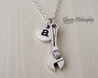 Wrench Necklace - Tools Jewelry - Personalized Monogram Initial Necklace
