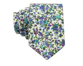 Grass Green Floral Tie.Floral Wedding Tie.Cotton Necktie for Men.