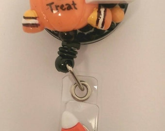 Trick or Treat Halloween Badge Reel - Retractable ID Badge Holder, Name Tag