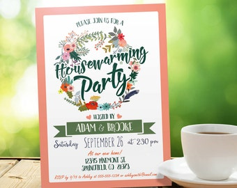 Peach and Green Housewarming Invitation - Personalized Printable DIGITAL FILE