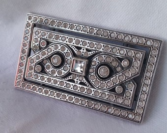 Art deco 1940s sterling and rhinestone brooch - rectangle bar