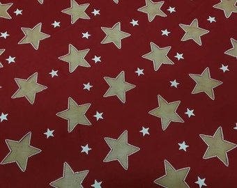 """Jersey Knit Stars Print Fabric Red and Navy Blue By the Yard. 60"""" Wide."""