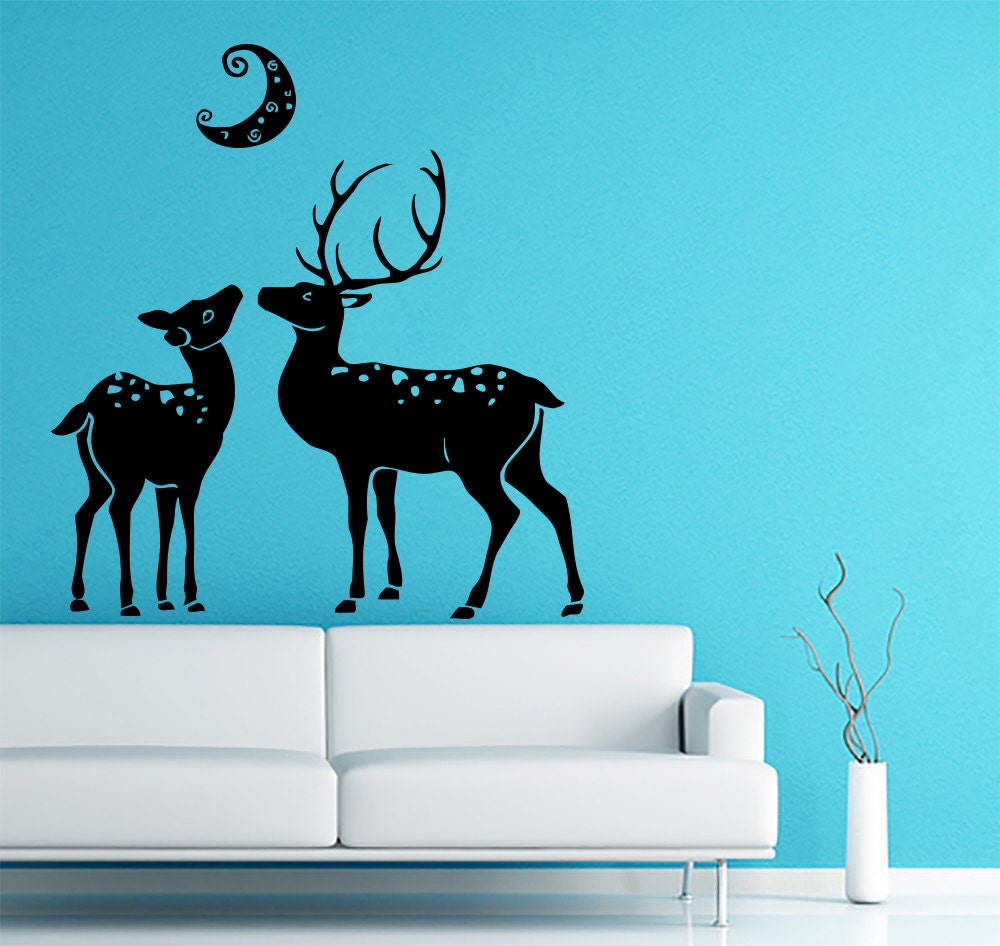 Deer animals family wall decal hunting vinyl sticker decals for Hunting wall decals