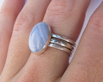 Blue Lace Agate Ring - Mother of the Bride Gift - Sterling Silver Gemstone Stacking Ring Set - Statement Ring - Something Blue for Bride
