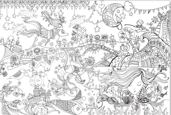 Giant Coloring Poster For Adults And Children Huge Illustrated To Be Colored Wonderland Large Book