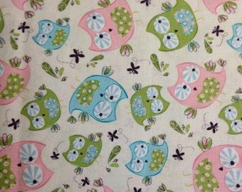 Hoot, Hoot Owls Cream by Emma & Mila, 100% Cotton