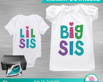 INSTANT DOWNLOAD Sister Iron on Transfer, Baby Sister Clothes DIY, Sisters Iron on Shirt,  Girls Clothing T-shirt