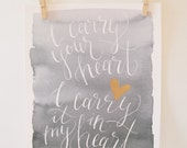 """EE Cummings """"I Carry Your Heart"""" - Hand Lettered/Brush Lettered Quote; Watercolor Art Print; Gold Painted; Wedding Gift; Poem/Art Gift"""