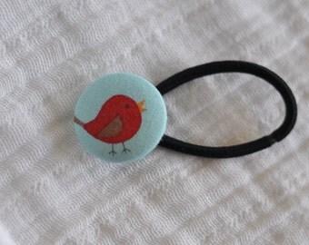 Little Bird Hair Elastic - Hair Tie - Pony Tail Holder - Red on Blue
