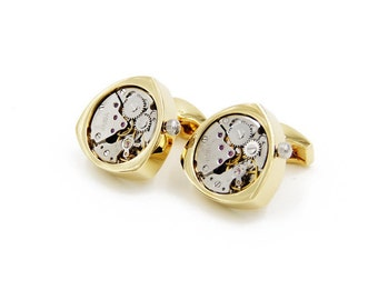 Watch Movement Steampunk Cufflinks Triangle Gold (SP148)