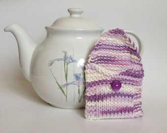 Lavender Purple Tea Bag Cozy Pouch Wallet, Sugar Packet Tote Holder, Tea Lover, Knit Cotton Cosy with Button, Mother's Day Gifts Under 10