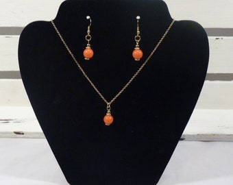 Coral Pearl Charm Pendant Necklace Set on a Gold Chain, Necklace and Earrings