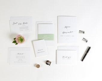 Einladung Hochzeit inklusive Banderole und Umschlag Vintage stilvoll in lindgrün weiß
