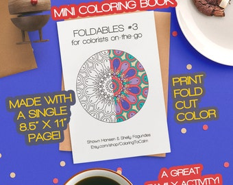 Mini Coloring Book – FOLDABLES #3 – Instant Digital Download by Coloring To Calm