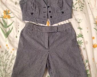 cute striped vest+shorts set