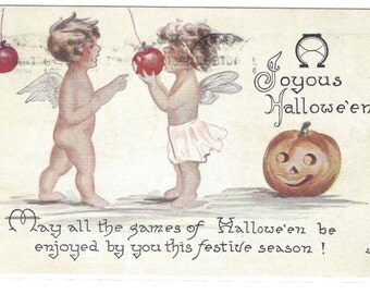 Antique Halloween Postcard Angel CHildren F.A. Owen Co 1918
