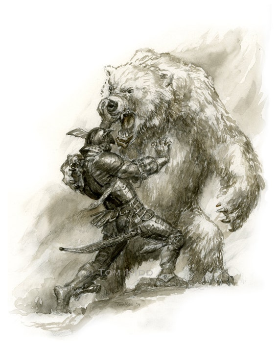Kane Vs Polar Bear Watercolor Fantasy Art Tom Kidd